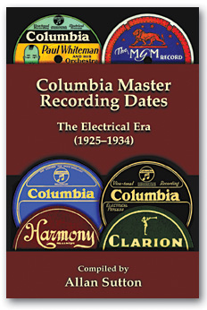 Columbia 78 Records - Recording Dates